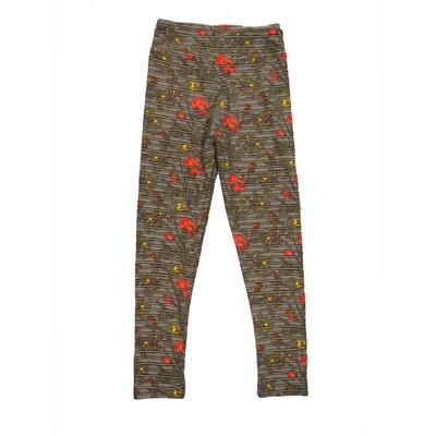 LuLaRoe Kids Small-Medium Floral Stripe Leggings ( S/M fits kids 2-8 ) SM-1003-X