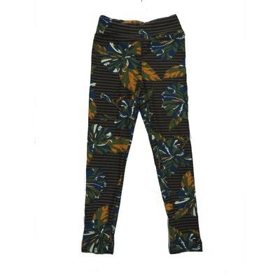 LuLaRoe Kids Small-Medium Floral Stripe Leggings ( S/M fits kids 2-8 ) SM-1007-D