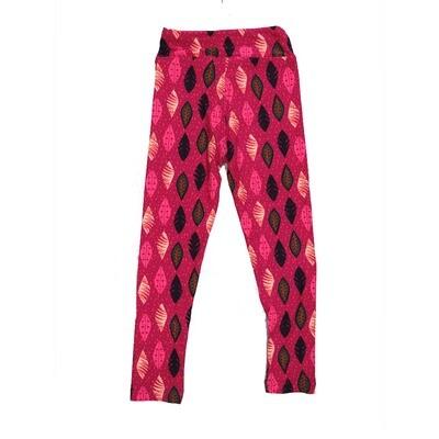 LuLaRoe Kids Small-Medium Leaves Geometric Polka Dot Stripe Leggings ( S/M fits kids 2-8 ) SM-1006-F