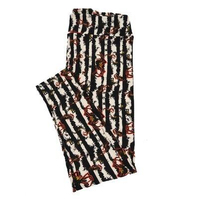LuLaRoe TC2 Halloween Black White Stripe Tarantula Spiders Leggings (TC2 fits sizes 18+) 9004-V