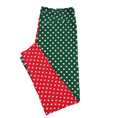 LuLaRoe TC2 Christmas Ornament Polka Dot Red Green White Leggings (TC2 fits sizes 18+) 9004-C