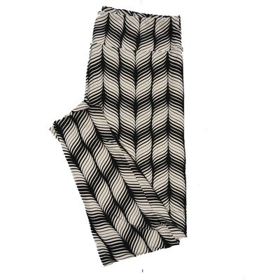 LuLaRoe TC2 Geometric Trippy Black and White Stripe Leggings (TC2 fits sizes 18+) 9001-R