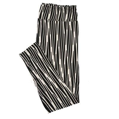 LuLaRoe TC2 Zig Zag Stripe Black White Leggings (TC2 fits sizes 18+) 9001-T
