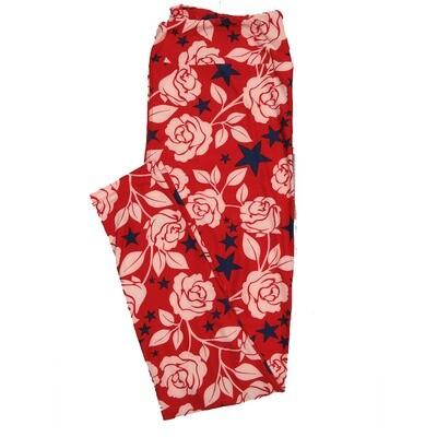 LuLaRoe TC2 Floral Roses Stars Reb Blue White Leggings (TC2 fits sizes 18+) 9000-C