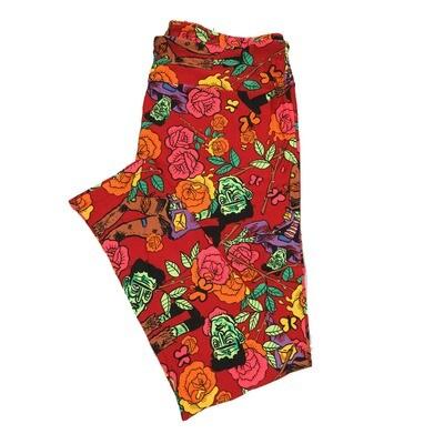 LuLaRoe TC2 Halloween Frankenstein Flowers Butterfly Leggings (TC2 fits sizes 18+) 9004-K