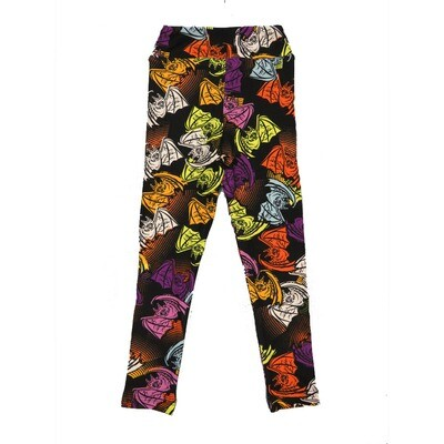 LuLaRoe Kids Small-Medium Halloween Bats Black Rainbow Colors   Leggings ( S/M fits kids 2-8 ) SM-1005-C