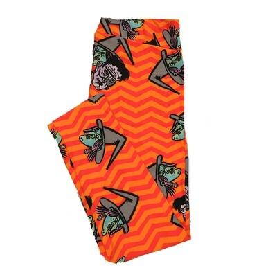 LuLaRoe TC2 Halloween Frankenstein Witch Zig Zag Stripe Leggings (TC2 fits sizes 18+) 9004-W
