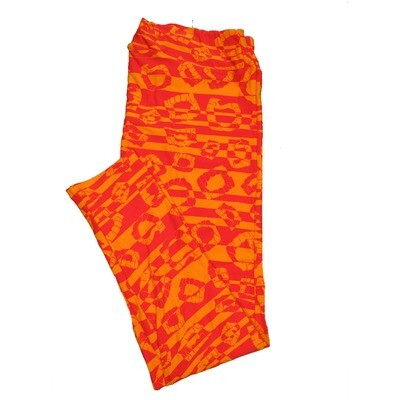 LuLaRoe TC2 Halloween Geometric Stripe Fake Vampire Teeth Orange Leggings (TC2 fits sizes 18+) 9004-L