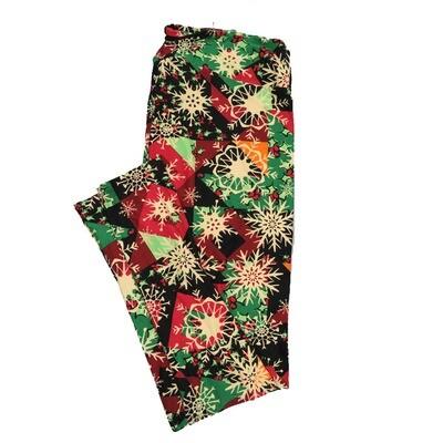 LuLaRoe TC2 Christmas Geometric Snowflakes Leggings (TC2 fits sizes 18+) 9003-X