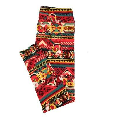 LuLaRoe TC2 Christmas Geometric Stripe Aztek Santa Claus Leggings (TC2 fits sizes 18+) 9004-D