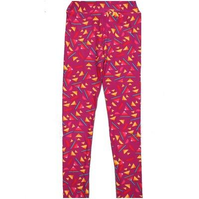 LuLaRoe Kids Large-XL Geometric Pink Yellow Fucshia Leggings ( L/XL fits kids 8-14) LXL-2004-Q