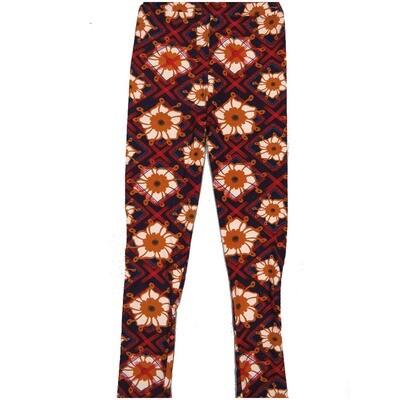 LuLaRoe Kids Large-XL Floral Geometric Black White Red Leggings ( L/XL fits kids 8-14) LXL-2001-A2