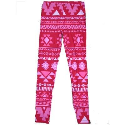 LuLaRoe Kids Large-XL ( LXL ) Valentines Red Pink Geometric Stripe Leggings fits Kids sizes 8-14