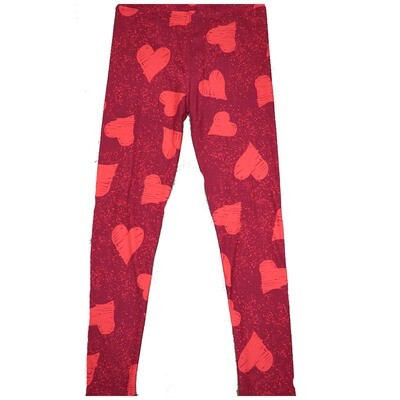 LuLaRoe Kids Large-XL ( LXL ) Valentines Red with Light Red Hearts Leggings fits Kids sizes 8-14