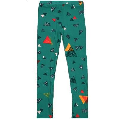 LuLaRoe Kids Large-XL Colored in Triangles Gray Black Green Leggings ( L/XL fits kids 8-14) LXL-2004-J