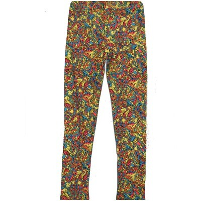 LuLaRoe Kids Large-XL Floral Yellow Turquoise Peach Coral Leggings ( L/XL fits kids 8-14) LXL-2002-R