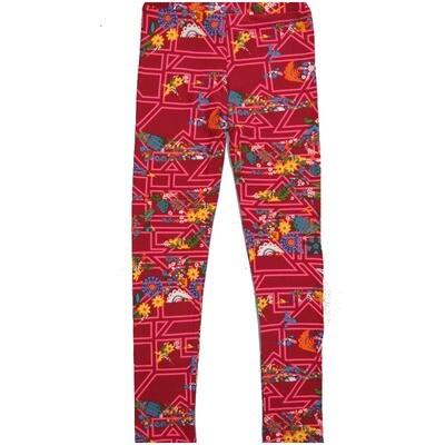 LuLaRoe Kids Large-XL Floral Geometric Pink Blue Gray Red Leggings ( L/XL fits kids 8-14) LXL-2002-L