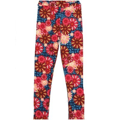 LuLaRoe Kids Large-XL Floral Daisies Red Pink Coral Blue Leggings ( L/XL fits kids 8-14) LXL-2003-G