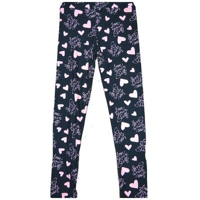LuLaRoe Kids Large-XL ( LXL ) Valentines Love Yourself Black and White Hearts Leggings fits Kids sizes 8-14