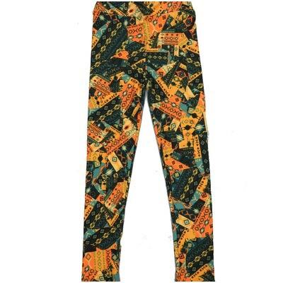 LuLaRoe Kids Large-XL Southwestern Patchwork Geometric Yellow Green Black  Leggings ( L/XL fits kids 8-14) LXL-2003-S