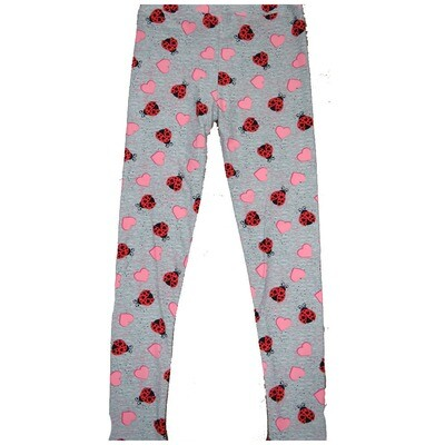 LuLaRoe Kids Large-XL ( LXL ) Valentines Red Black Ladybugs Gray with Pink Hearts Leggings fits Kids sizes 8-14