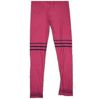 LuLaRoe Kids Large-XL ( LXL ) Valentines Solid Red with Black Three Stripe Polka Dot Hearts Leggings fits Kids sizes 8-14