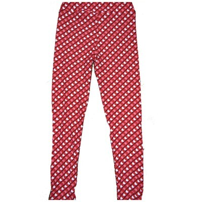 LuLaRoe Kids Large-XL ( LXL ) Valentines Red Black Pink White Stripe Polka Dot Hearts Leggings fits Kids sizes 8-14