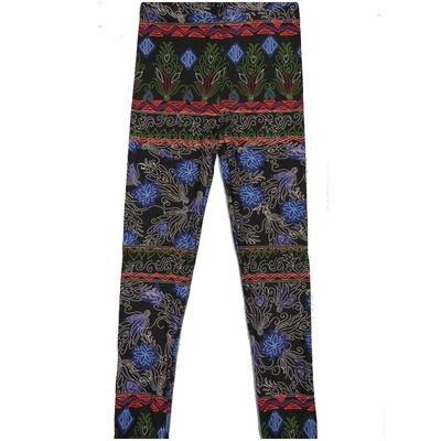 LuLaRoe Kids Large-XL Handstitched Floral Delicate Pattern Black Blue White Stripe Leggings ( L/XL fits kids 8-14) LXL-2003-E
