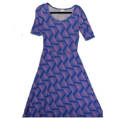 LuLaRoe Ana Small S Blue and Lavender Trippy Diagonal Wavy Stripe Floor Length Maxi Dress fits sizes 4-6