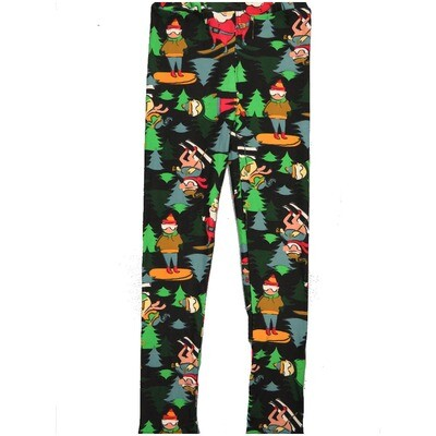 LuLaRoe Kids Large-XL Christams Snow Skiers Evergreen Trees Black Green White Gray Leggings ( L/XL fits kids 8-14) LXL-2000-S