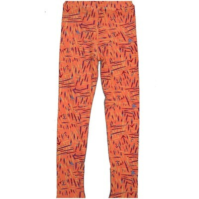 LuLaRoe Kids Large-XL Coral Black Teal Geometric Stripe Leggings ( L/XL fits kids 8-14) LXL-2003-Y