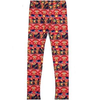 LuLaRoe Kids Large-XL Multicolor Aztek Southwestern Geometric Stripe Leggings ( L/XL fits kids 8-14) LXL-2003-N