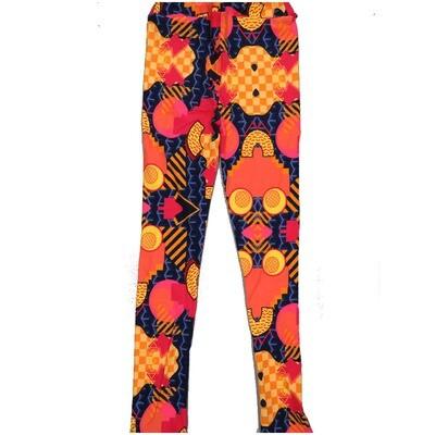 LuLaRoe Kids Large-XL Geometric Smiling Face Checkerboard Blue Orange Yellow Leggings ( L/XL fits kids 8-14) LXL-2004-R