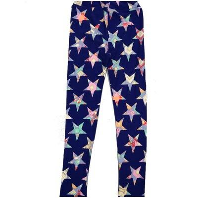 LuLaRoe Kids Large-XL Americana Blue with Geometric Stars Leggings ( L/XL fits kids 8-14) LXL-2000-D