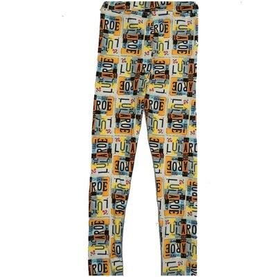 LuLaRoe Kids Large-XL License Plates Black Yellow White Teal Leggings ( L/XL fits kids 8-14) LXL-2000-A