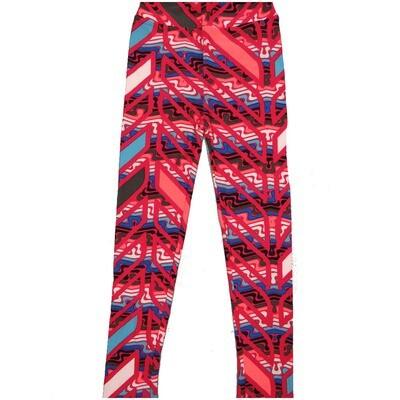 LuLaRoe Kids Large-XL Wavy Zig Zag Geometric Black White Blue Pink Stripe Leggings ( L/XL fits kids 8-14) LXL-2005-M