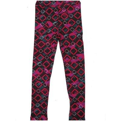 LuLaRoe Kids Large-XL Square Polka Dot Geometric Stripe Black Fucshia White Leggings ( L/XL fits kids 8-14) LXL-2003-P