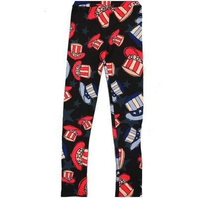 LuLaRoe Kids Large-XL Americana Uncle Sam Hat Stars Stripes USA Red Black Blue White Leggings ( L/XL fits kids 8-14) LXL-2000-F