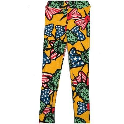 LuLaRoe Kids Large-XL Americana State Lady Liberty Stars Yellow Black Red White Blue Leggings ( L/XL fits kids 8-14) LXL-2001-Q