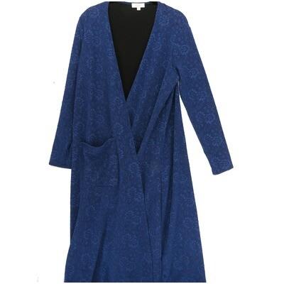 LuLaRoe SARAH Small S Embossed Flroal Heavy Fabric Light Blue Darm Blue Cardigan fits Womens sizes 6-8