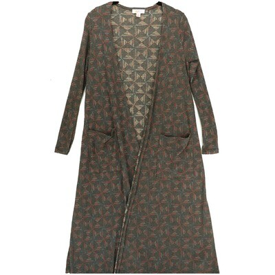 LuLaRoe SARAH X-Small XS Geometric Dark Gray Red Cardigan fits Womens sizes 0-4