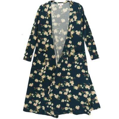 LuLaRoe SARAH X-Small XS Floral Dark Gray Cream Pink Cardigan fits Womens sizes 0-4