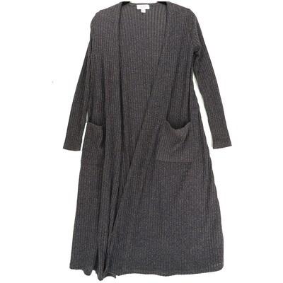 LuLaRoe SARAH X-Small XS Ribbed Solid Dark Gray Cardigan fits Womens sizes 0-4