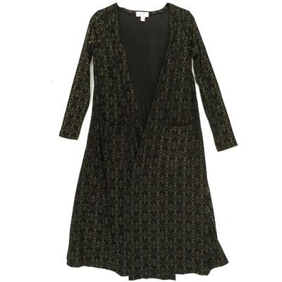 LuLaRoe SARAH X-Small XS Elegant Collection Raised Polka Dot Black Gold Cardigan fits Womens sizes 0-4