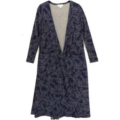 LuLaRoe SARAH X-Small XS Floral Navy Gray Cardigan fits Womens sizes 0-4