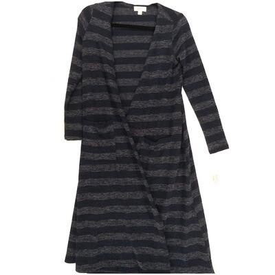 LuLaRoe SARAH X-Small XS Stripe Blue Gray Cardigan fits Womens sizes 0-4