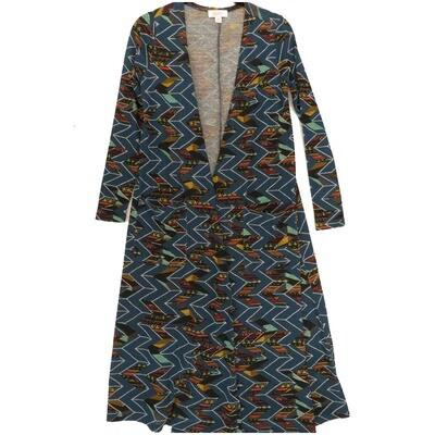 LuLaRoe SARAH X-Small XS Zig Zag Geometric Stripe Turquoise Black Dirty Gold Cardigan fits Womens sizes 0-4