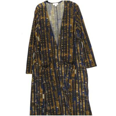 LuLaRoe SARAH Large L Geometric Vertical Stripe Navy Brown White Cardigan fits Womens sizes 14-16