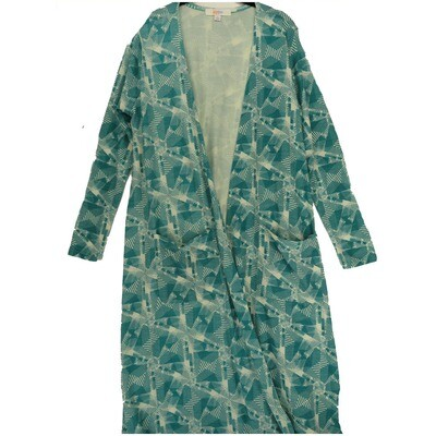 LuLaRoe SARAH Large L Geometric Trippy 70s Turquoise White Cardigan fits Womens sizes 14-16