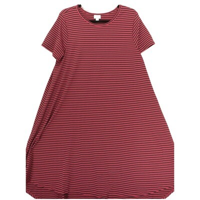 LuLaRoe CARLY Large L Maroon and Black Stripe Swing Dress fits Women 14-16
